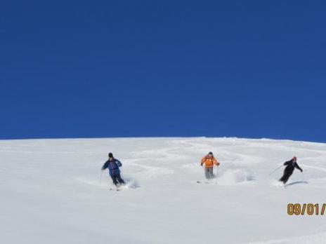 Belle neige poudreuse au départ du col de la Chal à Arc 2000