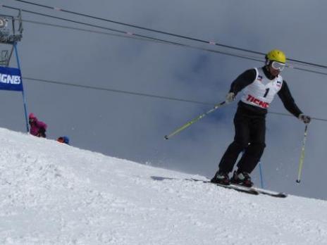 Bernard au départ 40ème championnat de ski UIAGM à Tignes