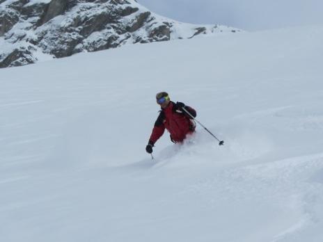 Ski hors piste face nord de Bellecote La Plagne