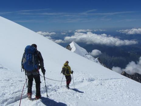 Ascension du Mont Blanc, descente vers le refuge