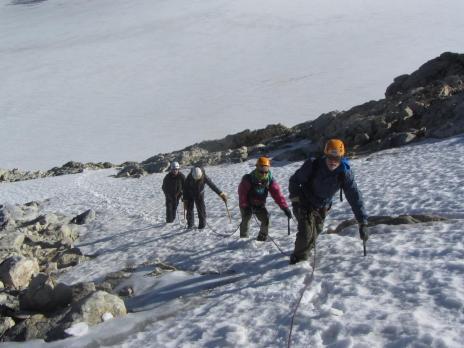 Randonnée glaciaire, montée à la Pointe de la Golette