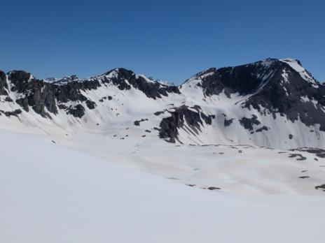 Randonnée ski Ouille noire. Vue sur le col du Montet