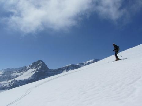 Ski de randonnée aux Arcs - Descente vers Peisey Vallandry