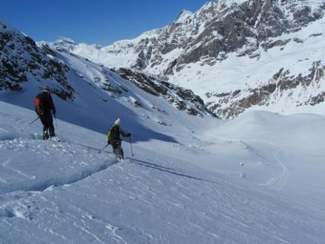 Ski de randonnée au départ de val d'Isère, descente par le glacier du Gros Caval