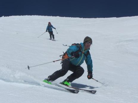 Ski de randonnée, l'Homme Cairn au dessus de Bourg Saint Maurice
