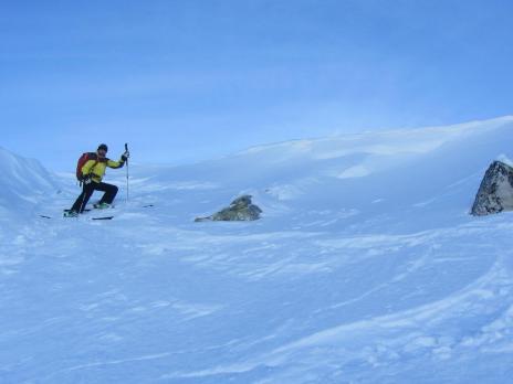 ski hors piste aux Arcs - Départ du couloir de Comborsière