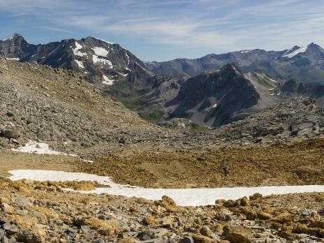 descente vers la vallée de Peisey et le Mont Pourri